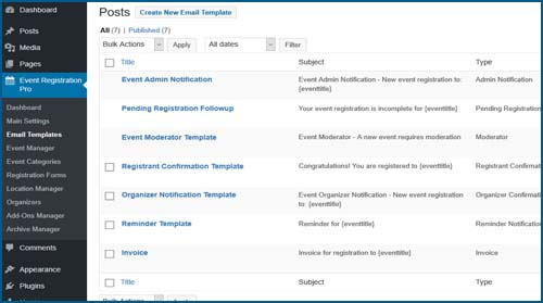email templates Event Registration Pro Calendar For Wordpress